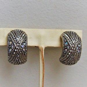 Domed Marcasite Iridescent Rhinestone Earrings